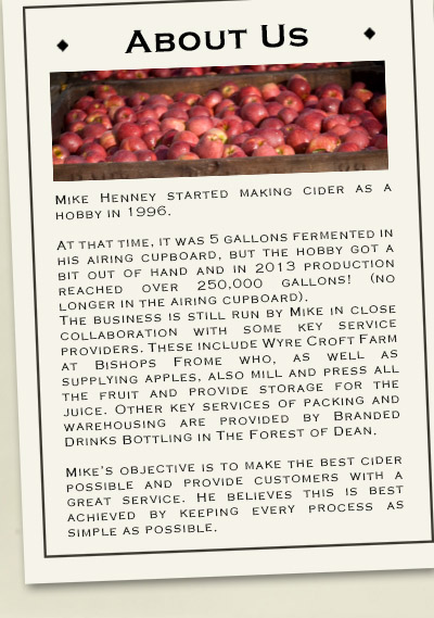 About Henneys cider